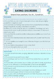 Eating Disorders Reading Esl Worksheet By Marta73