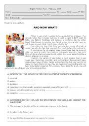 English Worksheet: test on jobs