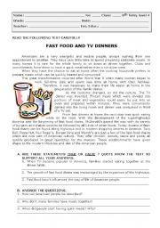English Worksheet: test on fast food