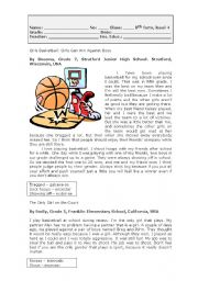 English Worksheet: Girls Basketball
