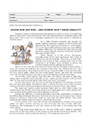 English Worksheets: Equality between men and women