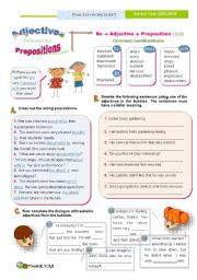 English Worksheet: Adjectives followed by prepositions  (2)  - Common combinations with