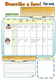 English Worksheets: DESCRIBE A FACE! - part 1 FUN PAIR WORK ACTIVITIES. ( 2pages for student A and student B )