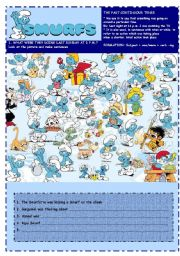 English Worksheets: SMURFS I - PAST CONTINUOUS
