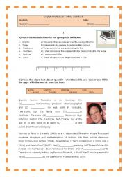 English Worksheet: Test on FILMS and MUSIC (Quentin Tarantino)