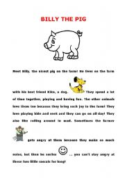 English Worksheets: Billy the pig