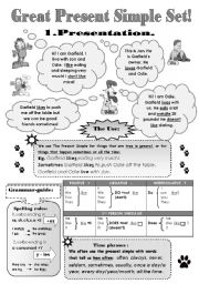 English Worksheet: GREAT PRESENT SIMPLE SET! - 5 pages: GRAMMAR-GUIDE  + 4 pages of DIFFERENT EXERCISES!
