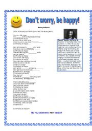 English Worksheet: Don´t worry be happy song - Bob McFerrin