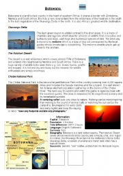 English Worksheets: Information Sheet about Botswana with comprehension questions