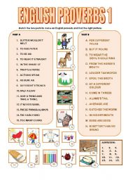 English Worksheet: ENGLISH PROVERBS 1 : MATCHING/TRANSLATION(2 PAGES+ANSWERS)