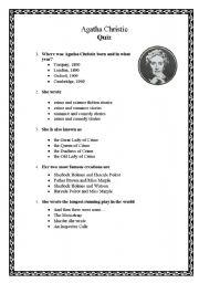 English Worksheet: Agatha Christie Quiz