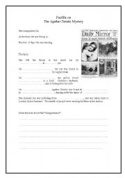 English worksheet: Factfile on the Agatha Christie Mystery