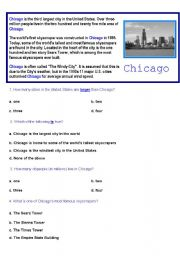 English Worksheet: CHICAGO- comprehension reading