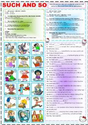 English Worksheet: SUCH AND SO