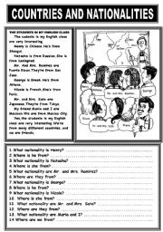 English Worksheet: COUNTRIES AND NATIONALITIES