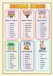 English Worksheet: Zodiac Signs and Adjectives - Speaking (3  sheets)
