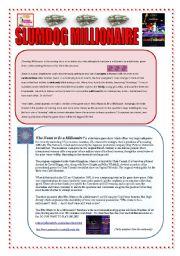 English Worksheet: SLUMDOG MILLIONAIRE: READING & VOCABULARY (2 PAGES + ANSWERS)