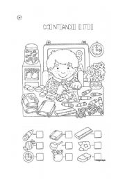 English Worksheet: School objects- count and write