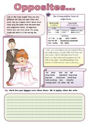 English Worksheet: OPPOSITES... - comparative form of adjectives (FUN SPEAKING AND WRITING ACTIVITIES) 2 pages ( color and B & W versions)