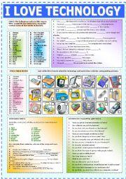 English Worksheet: I LOVE TECHNOLOGY