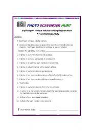 English Worksheets: PHOTO SCAVENGER HUNT