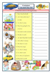 English Worksheets: Likes and dislikes (4 pages - 6 exercises)
