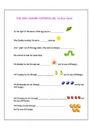 English Worksheets: The Very Hungry Caterpillar Fill-in-the-gaps story (1of 2)