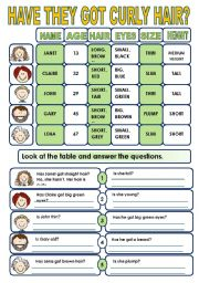 English Worksheet: DESCRIBING PEOPLE- YES/ NO QUESTIONS