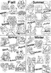 English Worksheet: Seasons chart, BW version