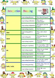 English Worksheets: Interjections (2 pages)