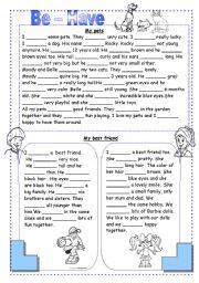 English Worksheet: Be - Have