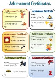 English Worksheets: ACHIEVEMENT CERTIFICATES  for young learners  Part 1