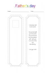 English Worksheet: Father´s day bookmarker