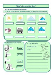 English Worksheet: weather and temperature
