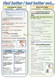 English Worksheets: HAD BETTER / HAD BETTER NOT... GRAMMAR_GUIDE + EXERCISES ( B&W and COLOR versions in one ws)