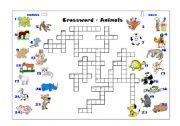 English Worksheets: Crossword - Animals