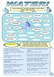 WATER! -  A SET OF ACTIVITIES (VOCABULARY, READING COMPREHENSION, WATER IDIOMS) 4 pages + answer keys