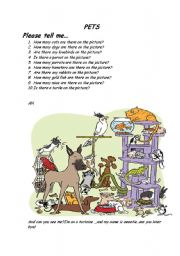 English Worksheets: pets and how many