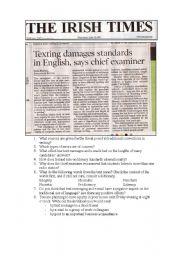 English Worksheets: Standard English vs Texting