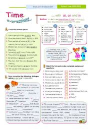 English Worksheet: TIME Expressions  - At/ On/ In  - Basic rules for Upper elementary and Intermediate students