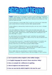 English Worksheets: English around the world