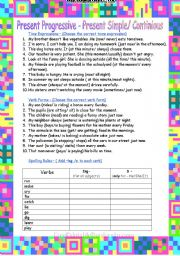 English Worksheets: Present Simple - Present Progressive/Continious