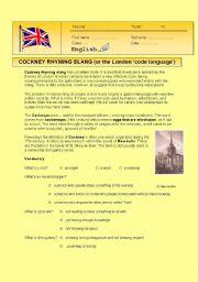 English Worksheet: Cockney Rhyming Slang activity ( London �code�  language)