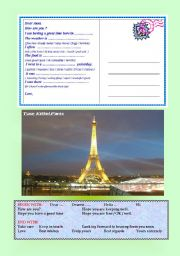 English Worksheet: POSTCARDS multiple-choice - gap-fill