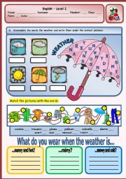 English Exercises: weather and clothes