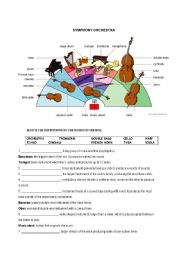 English worksheet: THE ORCHESTRA