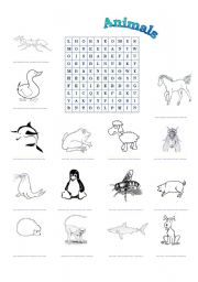 English Worksheet: Animals - the wordsearch