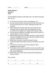 English Worksheet: Worksheet on Bones Season 1 Episode 1