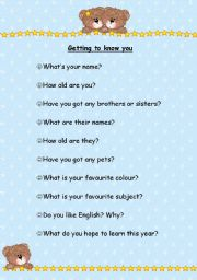 English Worksheets: getting to know you...