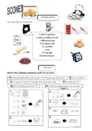 English Worksheet: scones recipe